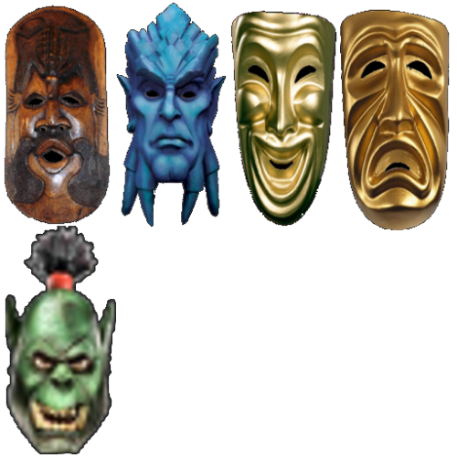 Full Face MasksAfrican Tribal, WoW Draenei, Comedy, Tragedy, and Orc