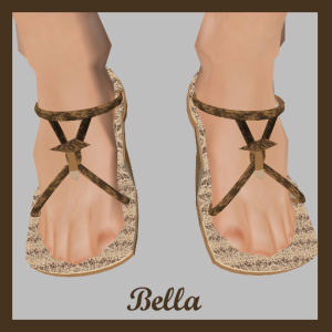 Bella features a tiny sculpted mushroom shoe ornament and a cork sole and heel. The instep has a lovely mushroom texture and the straps are textured with a woodsy bark.