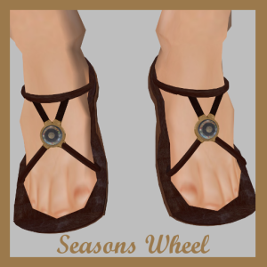 Seasons Wheel is a leather and brass sandal with a glass ornament (look close ~ the artwork represents the seasons of the year!). Looks great with steampunk outfits.
